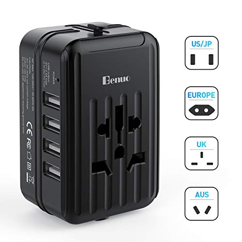 Benuo Worldwide Travel Adapter International Adapter 4 USB Charging Ports 1500W 6A Worldwide Travel Charger All in One AC Power Adapter with Retractable Plugs Universal Outlet International Wall Charg