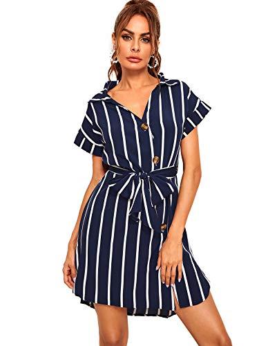 (Romwe Women's Knot Self Belted V Neck Button Up Curved Dip Hem Casual Dress Navy Blue)