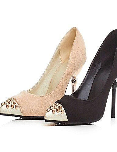 GGX/Damen Heels Sommer/Herbst Heels/spitz Fuß Fleece Office & Karriere/Casual Stiletto Heel Stift schwarz/beige black-us9.5-10 / eu41 / uk7.5-8 / cn42