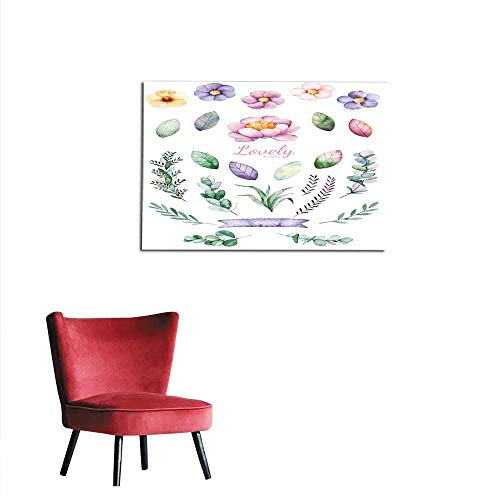 homehot Photographic Wallpaper Lovely Clipart of Peony Ribbon Leaves Branches and Flowers Mural -