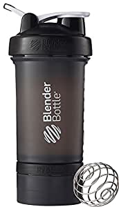 BlenderBottle ProStak System with 22-Ounce Bottle and Twist n' Lock Storage, Black/Black
