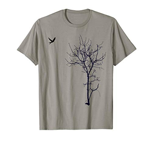 """Tree and bird"" T-shirt Nature black graphic tee"