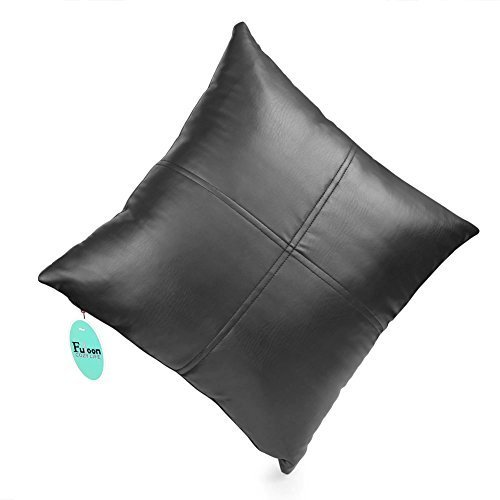 Fuloon Faux Leather Cushion Pillow with PP cotton insert Self Cord Decorative Pillow Deluxe Home Decorative Soft Faux Leather Throw Pillow Cover Cushion Case (Black) 17' Leather Cord