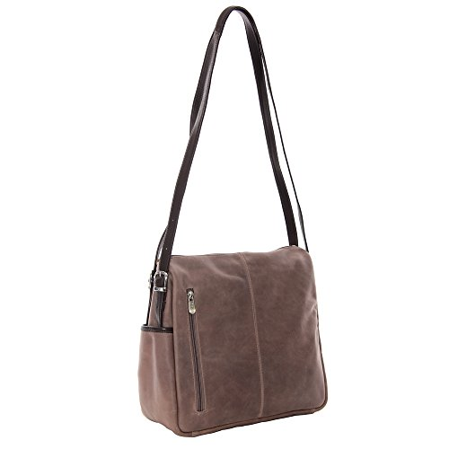Piel Leather Top-Zip Handbag/Shoulder Bag, Toffee
