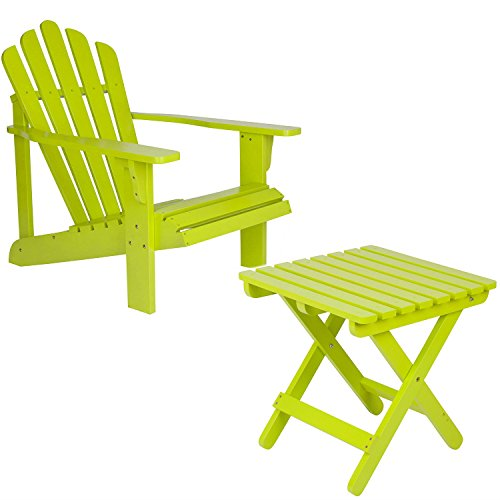 Shine Company Inc. Adirondack Square Folding Table with Westport Adirondack Chair - Lime Green