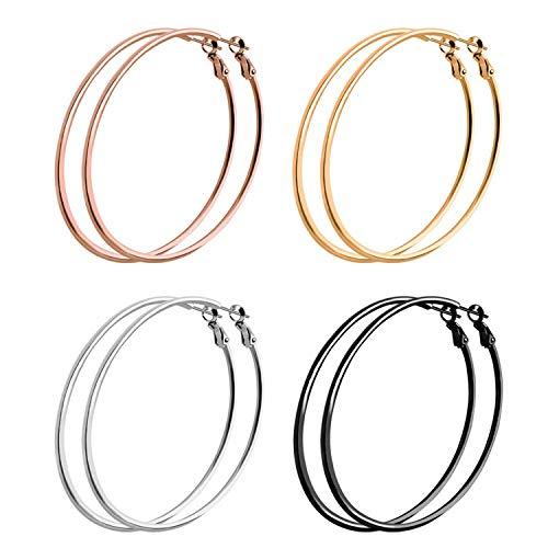 4 Pairs Big Hoop Earrings...