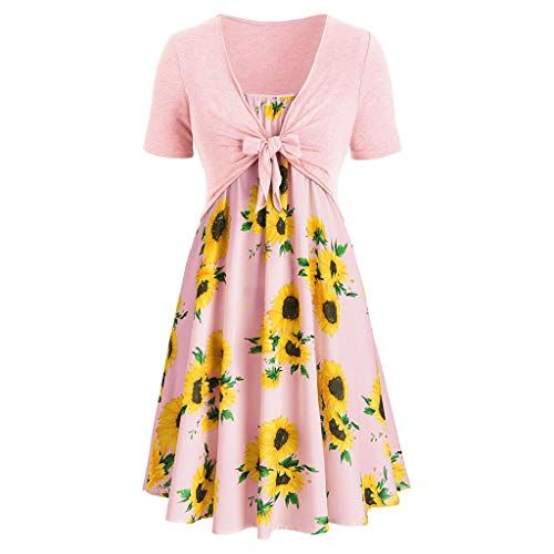 (Dresses for Women Casual Summer Short Sleeve Bow Knot Cover Up Tops Sunflower Print Strap Midi Dress Pleated Sun Dresses Pink)