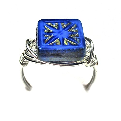 Czech Art Glass Picasso Sapphire Blue Artisan Silver Plate Wire Wrap Ring All (Alexandrite Pink Sapphire Ring)