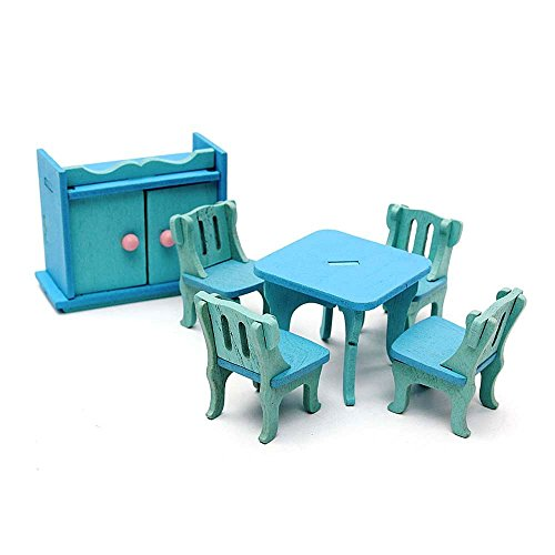 Miniature Wooden Furniture Doll House Dinning Room Set Kids Role Play Toy Kit DIY Dollhouse Accessories ZevenMart