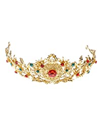 MonkeyJack Gold Alloy Metal Red Green Rhinestones Crystal Wedding Bridal Crown Tiara