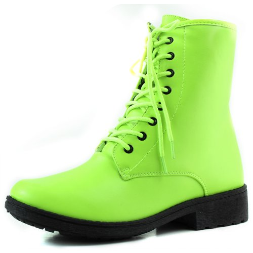 Lace Yellow Combat Ankle up 5 Military Neon Bootie 6 Color Women's Boot Qupid Yellow qngwfUxXz