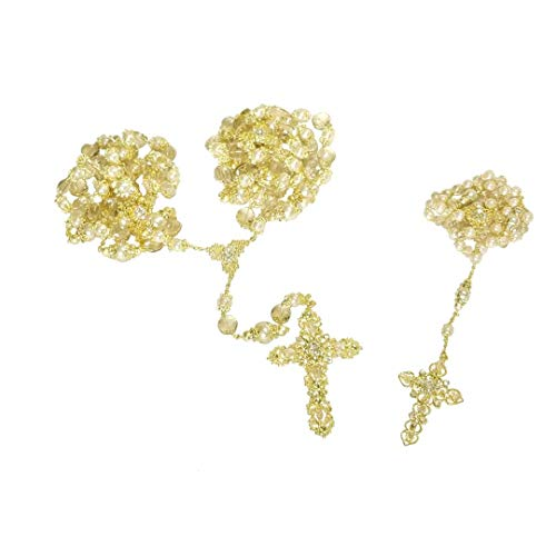 Angel Threads Boutique Elegant Gold Wedding Faux Pearl and Bead Rosary and Laso Lazo Lasso Set with Detachable Lazo Cross