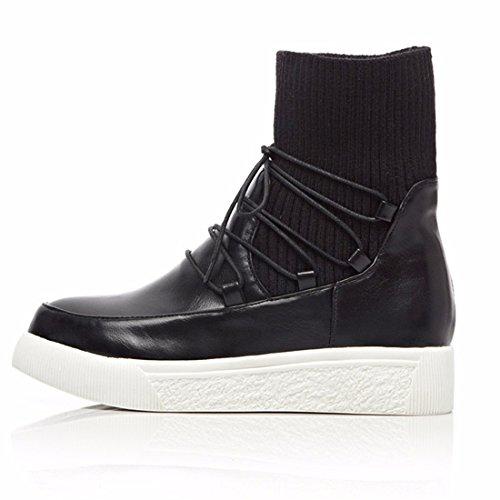 De Chaussures Bracelet En Épaisse À Laine Bottes femmes Semelles Bottes Des Mode Hiver Rff Bottes Plat Automne éponge Taille Et Noires trEwqr4
