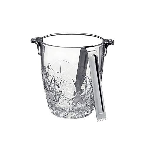 Bormioli Rocco Dedalo Ice Bucket With Stainless Steel Tongs | Etched, Star-Cut Design Italian Glass Bucket [30.50 oz] | Dishwasher-Safe & Perfect For Your Home Bar