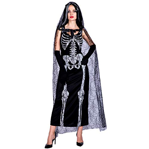 TINGSHOP Cosplay Costume, Ghost Bride Skirt Set with Gloves Adult Women's Day of The Dead Bride Costume, Day of The Dead, Halloween,Christmas Carnival Role-Playing Party Decorative Props]()