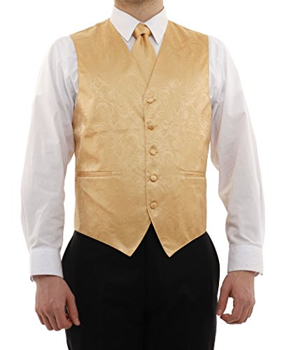 Vesuvio Napoli Men's Paisley Design Dress Vest & Necktie Gold Color Neck Tie Set sz XL
