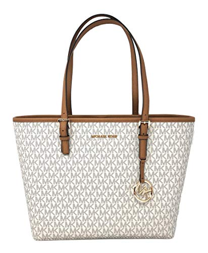 d699942148ad Michael Kors Jet Set Travel Medium Leather/Signature Carryall Tote Bag  (Vanilla/Acorn. found at Amazon