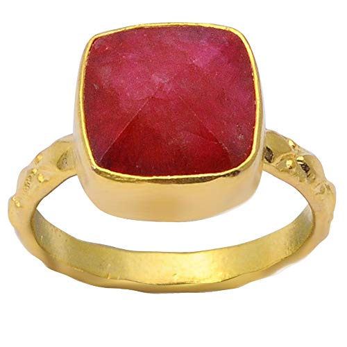 Red Cushion Ruby Brass Fashion Ring For Women: Nickel Free Beautiful Engagement Gift For Wife: Birthstone Month-July By Orchid Jewelry (Simple.Beautiful.Affordable): Ring Size-7
