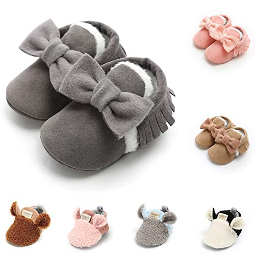 Infant Baby Girls Shoes Tassel Soft Soled Crib Shoes Moccasins First Walkers Cozy Fleece Booties (6-12 Months, L35 Dark Grey)