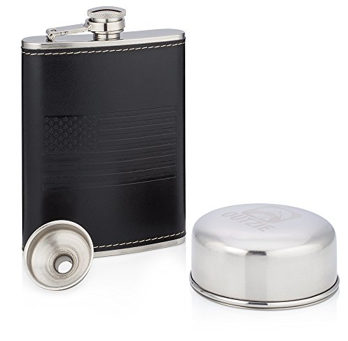 OUTZIE-Hip-Flask-Gift-Set-with-Soft-Touch-Leather-Like-Cover-Leak-Proof-Slim-Profile-Classic-American-Flag-Design-Includes-Collapsible-Cup-and-Funnel-Packaged-in-an-Attractive-Gift-Box