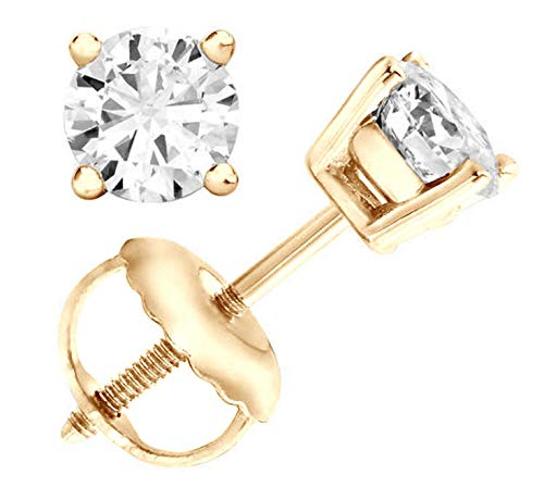Jewelry By Bruno 1.04 carat Round Natural Cut F-G SI2-SI3 Diamond Stud Earrings 14K Yellow Gold