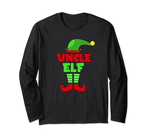 Unisex Uncle Elf T Shirt - Funny Holiday Christmas Gift Tee 2XL Black