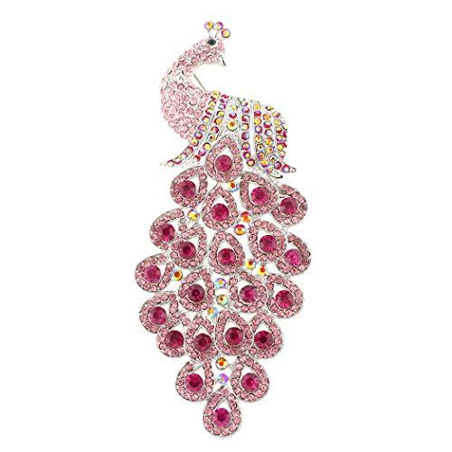 (EVER FAITH Austrian Crystal Elegant New 5 Inch Peacock Bird Brooch Pendant Pink Silver-Tone)