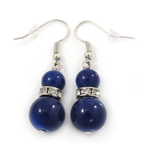 C/éramique Bleu marine-Collier Perles Bracelet flexible /&Boucles doreilles goutte avec cristal en ton argent/é-longueur 44 cm//Extension 6 cm