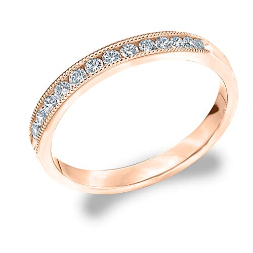 1/4 CT Milgrain Channel-Set Lab Grown Diamond Ring in 14K Rose Gold, Sparkling in E-F Color and VS Clarity- Finger Size 5.25