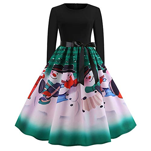 Christmas Evening Party Swing Dress Women Vintage Print Long Sleeve Dress