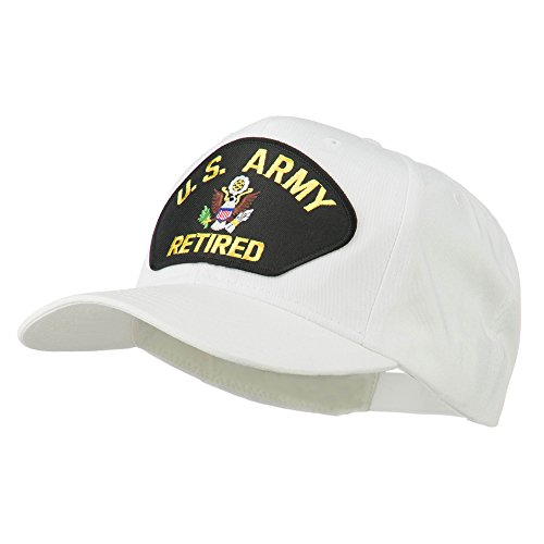 5dd43b5bf72 E4hats US Army Retired Military Patched Cap - White OSFM