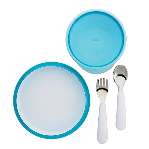 OXO Tot 4 Piece Feeding Set, Aqua (4 Pack) by OXO (Image #2)