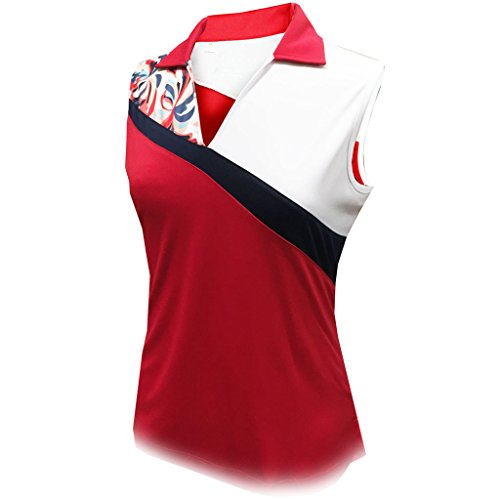 Monterey Club Ladies Dry Swing Water Fountain Contrast Coloblock Sleeveless Shirt #2345 (Red/White, X-Large)