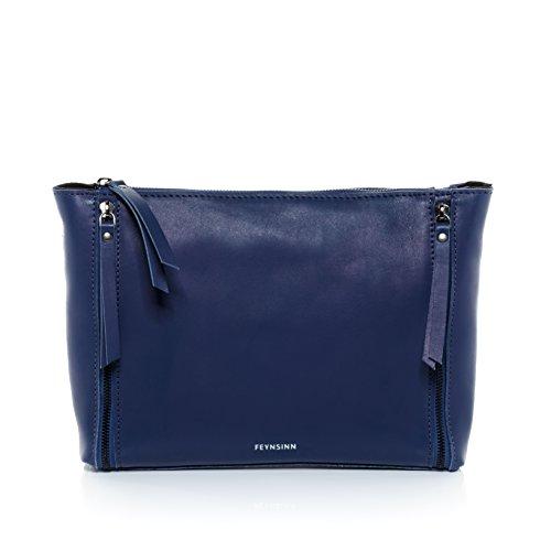 real bag women´s clutch laptop hobo leather indigo ipad FEYNSINN shoulder ZIP bag handbag inch bag woman fits amp; Indigo JEMMA p6BwqTZx