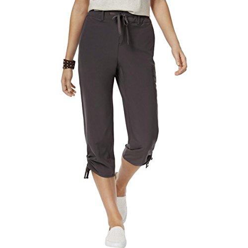 Ruched Wide Leg Gaucho (Style & Co. Womens Mid Rise Comfort Waist Capri Pants Black 8)