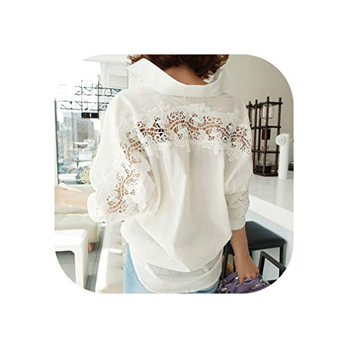Women Tops Summer Backless Sexy Hollow Out Lace Blouse Shirt Ladies Casual Blouse,White,S
