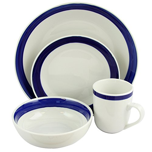 Gibson Home Basic Living III 16 Piece Dinnerware Set, Blue