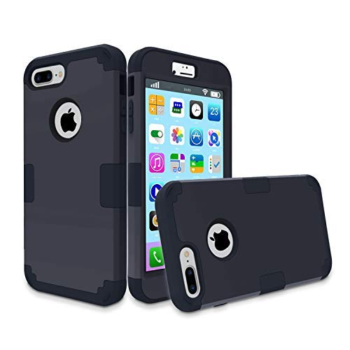 iPhone 7 Plus Case, MCUK 3 in 1 Hybrid Best Impact Defender Cover Silicone Rubber Skin Hard Combo Bumper with Scratch-Resistant Case for Apple iPhone 7 Plus (2016) (Black+Black)