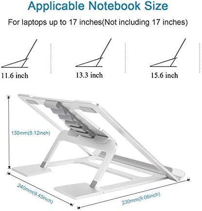 Adjustable Laptop Stand,Ventilated Portable Ergonomic Notebook Riser for Desk,Multi-Angle Adjustable Portable Anti-Slip Mount for MacBook, Surface Laptop, Notebook, 10″-17″ Tablet (Silver) 4132054NTCL