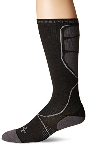 Tommie Copper Mens Performance Compression Over The Calf Socks, Black w/ Grey, 9-11.5