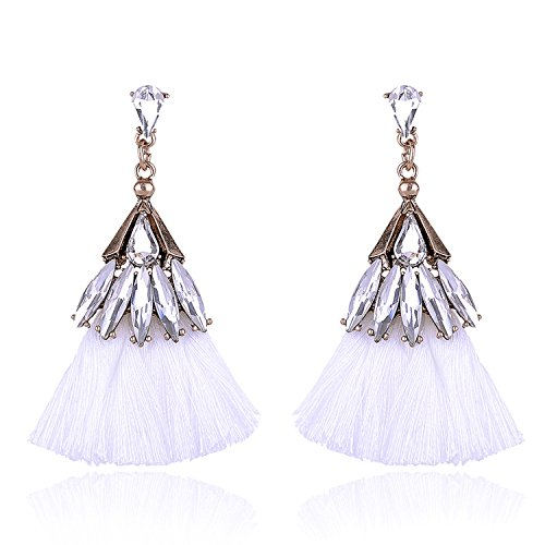 Luxury Long Tassel Earrings Women Beautiful Jewelry Vintage Earrings Christmas Party 11Colors White