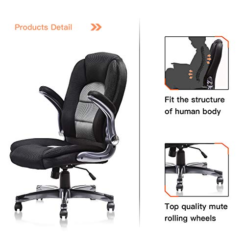Mesh Office Chair - Thick Padding for Comfort and Ergonomic Design for Lumbar Support,Adjustable Tilt Angle and Flip-up Arms Executive Computer Desk Chair