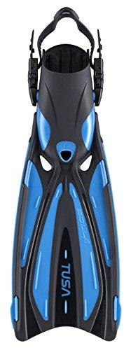 (TUSA SF-22 Solla Open Heel Scuba Diving Fins, L-XL Fishtail Blue)