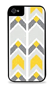 Yellow and Gray Chevron Pattern Black Silicone Case for iPhone 5C