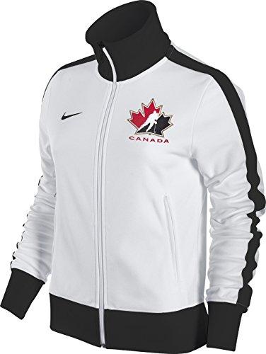 Hockey Jacket Nike - Nike Womens Canada Hockey Full Zip Track Jacket (White-Black, XL)