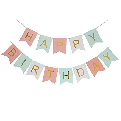 LOVELY BITON(TM) Large Tri-Color Pink & Green&White Happy Birthday Wall Banner, Party Decorations, Versatile, Beautiful, Swallowtail Bunting Flag garland Surprise Ideas (Happy Birthday Nice Cake)