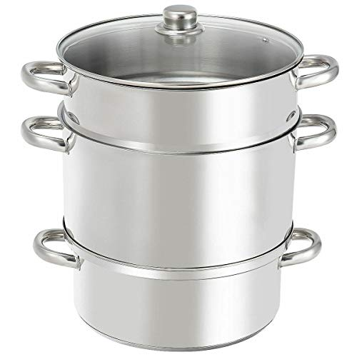 Cypress Shop Streamer Pot Stove 11 Quart Stainless Steel Fruit Vegetable Juicer To Tempered Glass Lid Extracting Natural Juice High Liquid Fruits And Vegetables Drips Kettle Colander Kitchen Cooker
