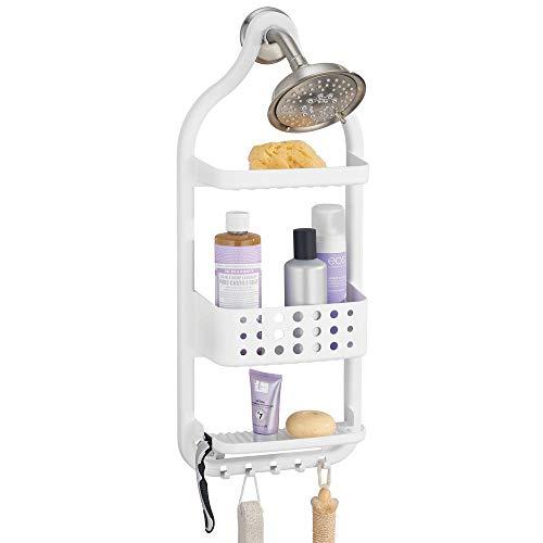 mDesign Plastic Bathroom Tub and Shower Caddy, Hanging Storage Organizer Center - 5 Hooks, 2 Razor Slots, 3 Basket Trays - Bathroom Shower Stalls, Bathtubs - White