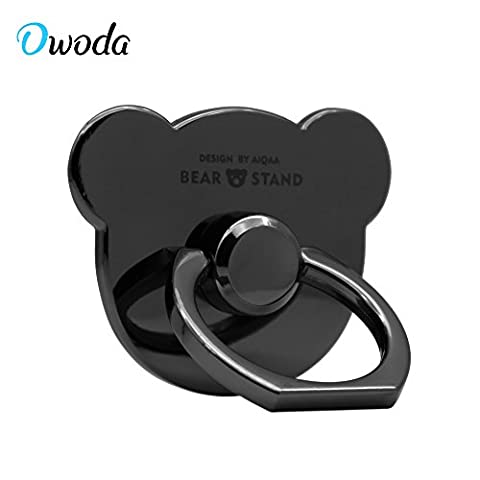 Owoda Luxurious Metal Finger Ring Stand Anti Drop 360 Degree Hand Grip Kickstend for iPhone iPad Samsung and All Brand Mobile Phone (Bear-Metal Jet Black)