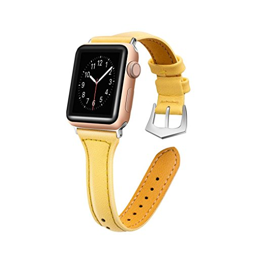 (Luxury Leather Bands for Apple Watch Band 38mm Buckle Replacement Slim Wristband Sport Strap for Iwatch Nike+, Series 3, Series 2, Series 1 Edition, 10 Colors Available (Yellow))